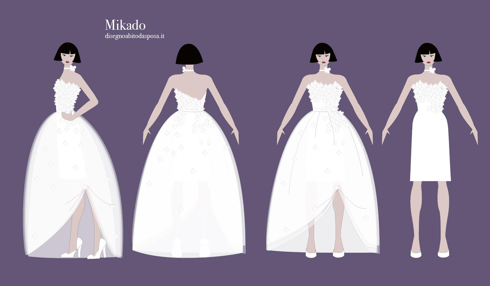 Abito da sposa Mikado, due abiti in uno