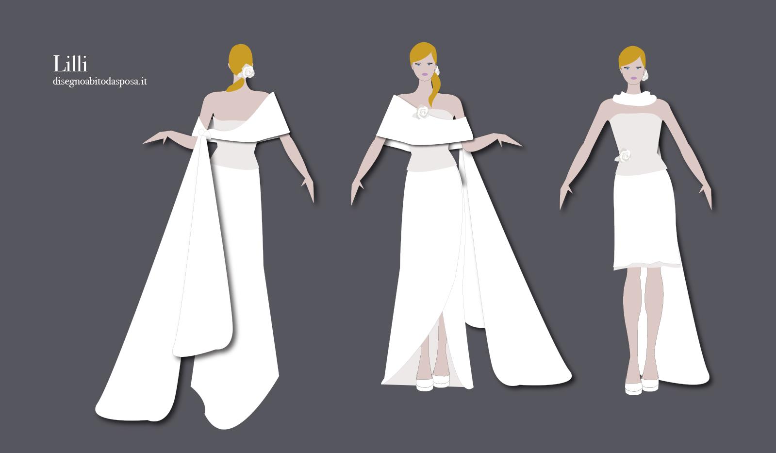 Abito da sposa Lilli formato da 4 pezzi, la sposa si trasforma