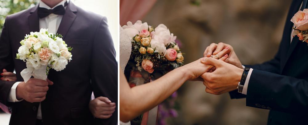 Sposo che dona il bouquet alla sposa