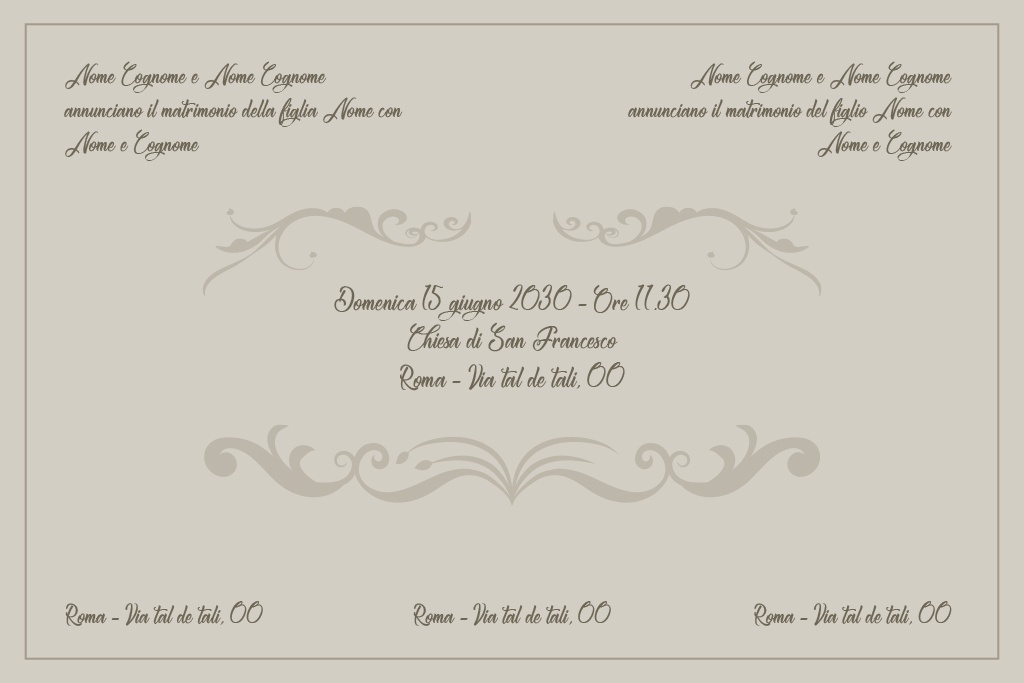 Scritte Partecipazioni Matrimonio.Partecipazioni Matrimonio Disegno Abito Da Sposa