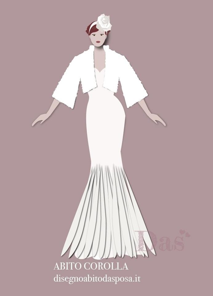 Disegno vestito da sposa con pelliccia