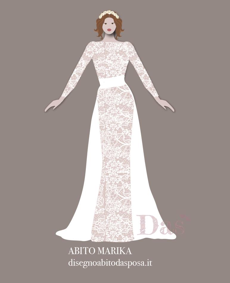 disegno dell'abito da sposa Marika