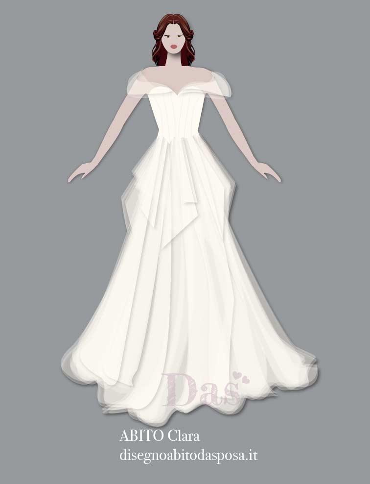 Disegno dell'abito da sposa Clara