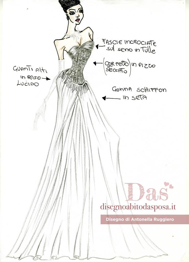 Disegno abito da sposa Antonella Ruggiero